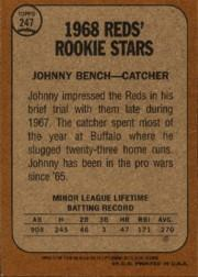 2001 Topps Archives #279 Johnny Bench 68 back image
