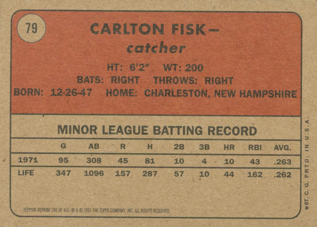 2001 Topps Archives #290 Carlton Fisk 72 back image