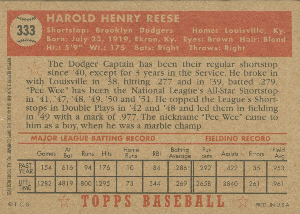 2001 Topps Archives #315 Pee Wee Reese 52 back image