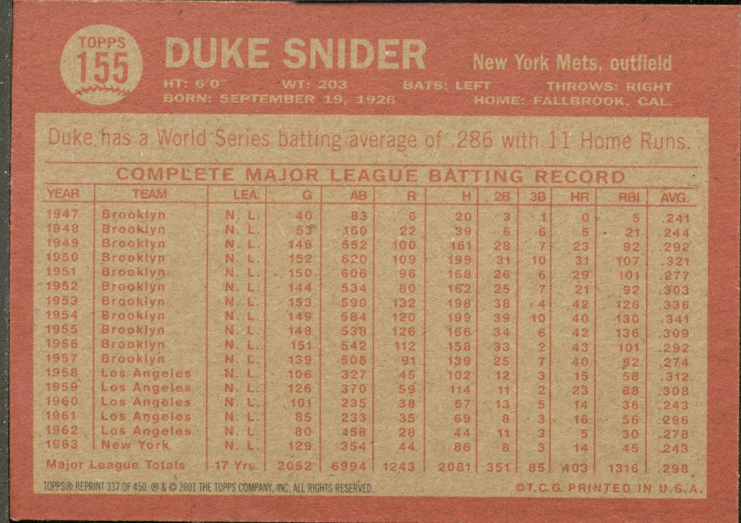 2001 Topps Archives #337 Duke Snider 64 back image