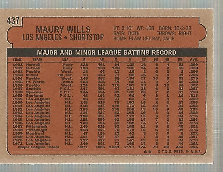 2001 Topps Archives #395 Maury Wills 72 back image