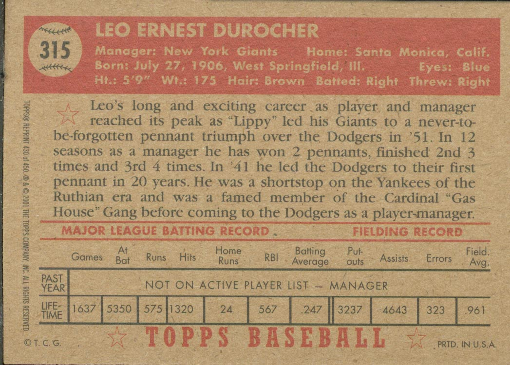 2001 Topps Archives #430 Leo Durocher MG 52 back image