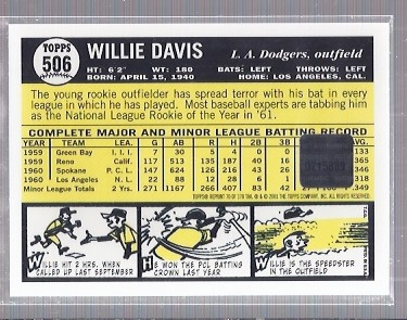2001 Topps Archives Autographs #TAA70 Willie Davis E1 back image