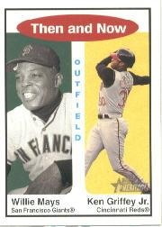 2001 Topps Heritage Then and Now #TH3 W.Mays/K.Griffey Jr.
