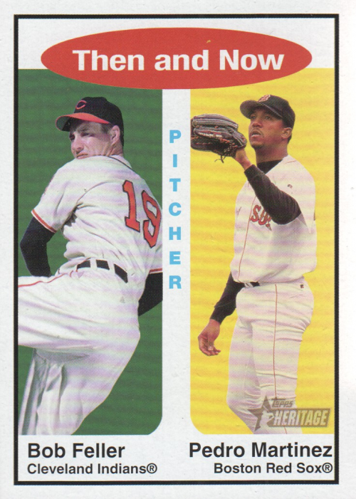 2001 Topps Heritage Then and Now #TH8 B.Feller/P.Martinez
