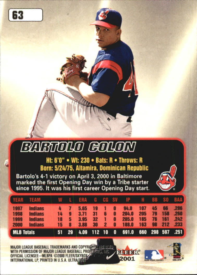 2001 Ultra #63 Bartolo Colon back image