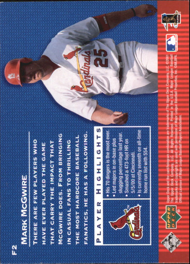 2001 Upper Deck Franchise #F2 Mark McGwire back image