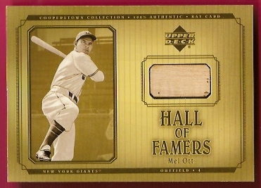 2001 Upper Deck Hall of Famers Game Bat #BMO Mel Ott