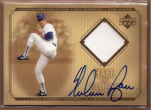 2001 Upper Deck Hall of Famers Game Jersey Autograph #SJNR Nolan Ryan
