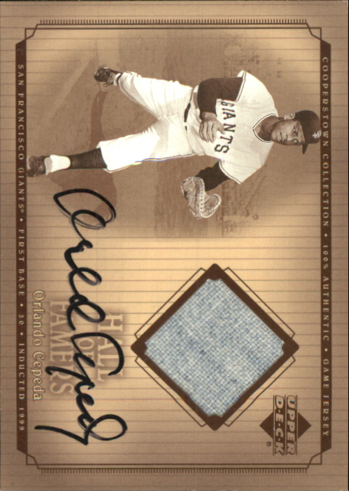2001 Upper Deck Hall of Famers Game Jersey Autograph #SJOC Orlando Cepeda