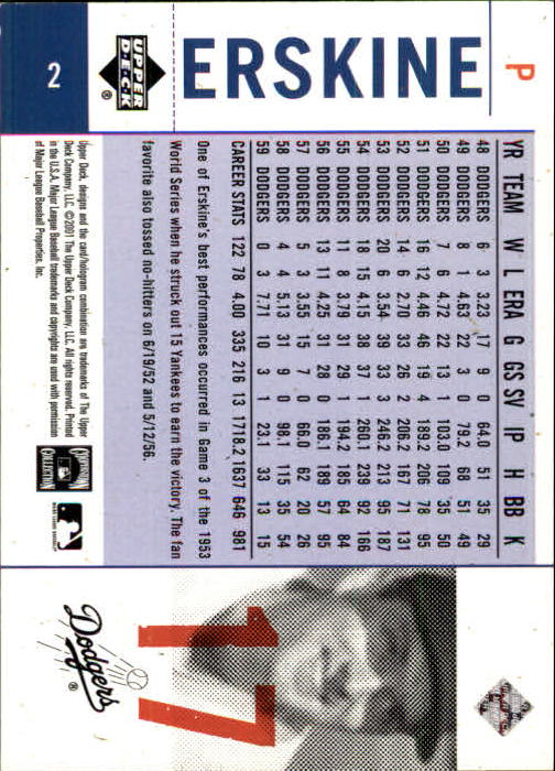 2001 Upper Deck Legends of NY #2 Carl Erskine back image