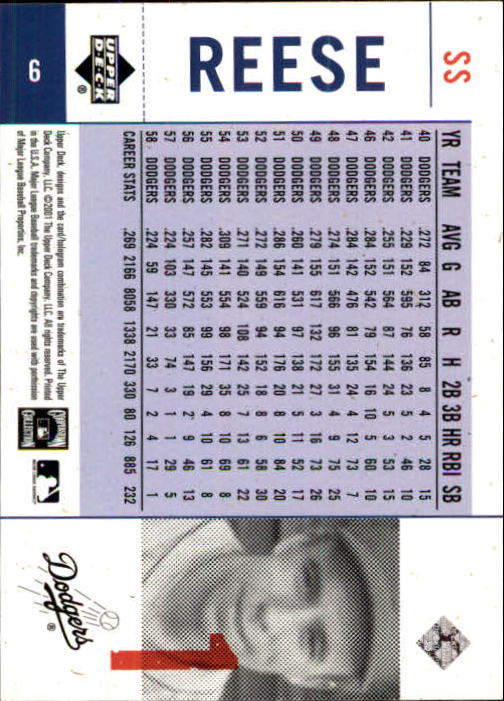 2001 Upper Deck Legends of NY #6 Pee Wee Reese back image