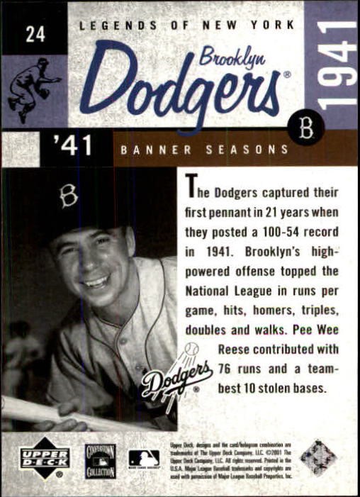 2001 Upper Deck Legends of NY #24 Pee Wee Reese BNS back image