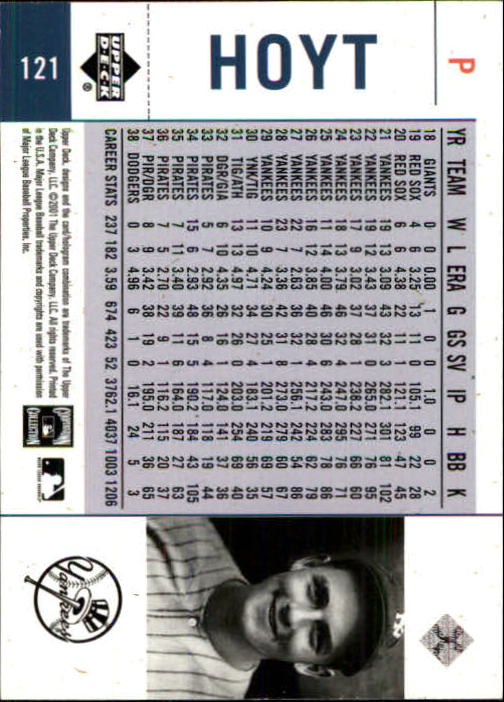 2001 Upper Deck Legends of NY #121 Waite Hoyt back image