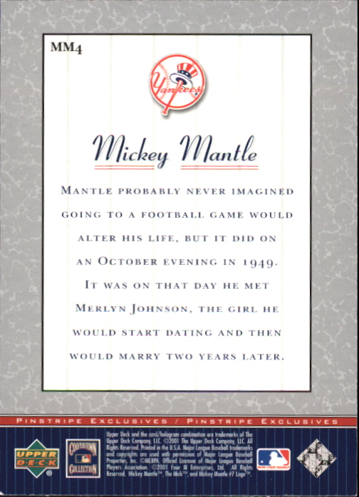 2001 Upper Deck Pinstripe Exclusives Mantle #MM4 Mickey Mantle back image