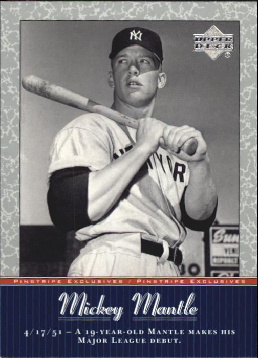 2001 Upper Deck Pinstripe Exclusives Mantle #MM6 Mickey Mantle