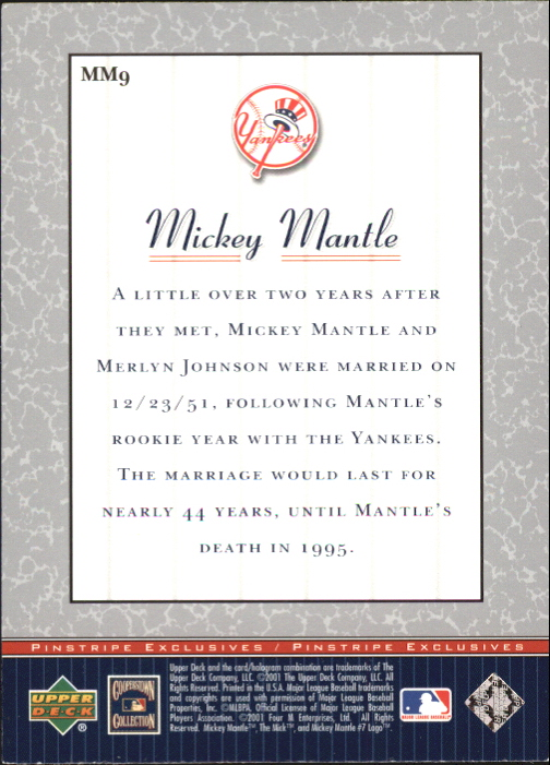 2001 Upper Deck Pinstripe Exclusives Mantle #MM9 Mickey Mantle back image