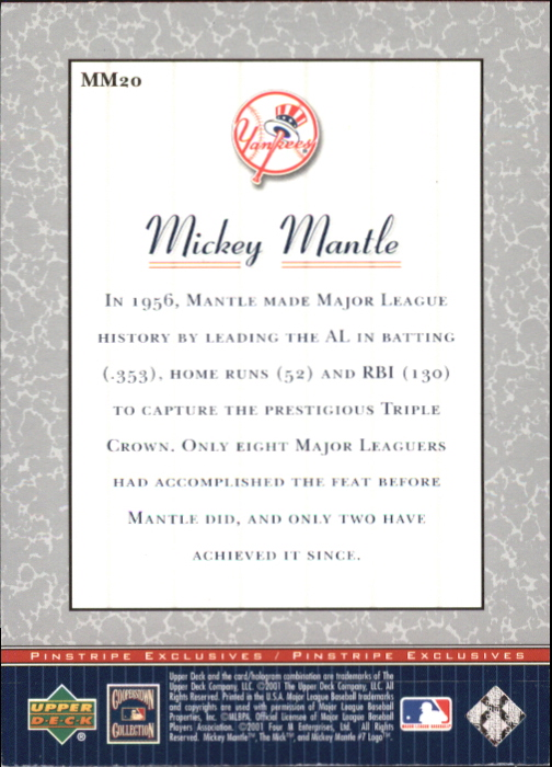 2001 Upper Deck Pinstripe Exclusives Mantle #MM20 Mickey Mantle back image