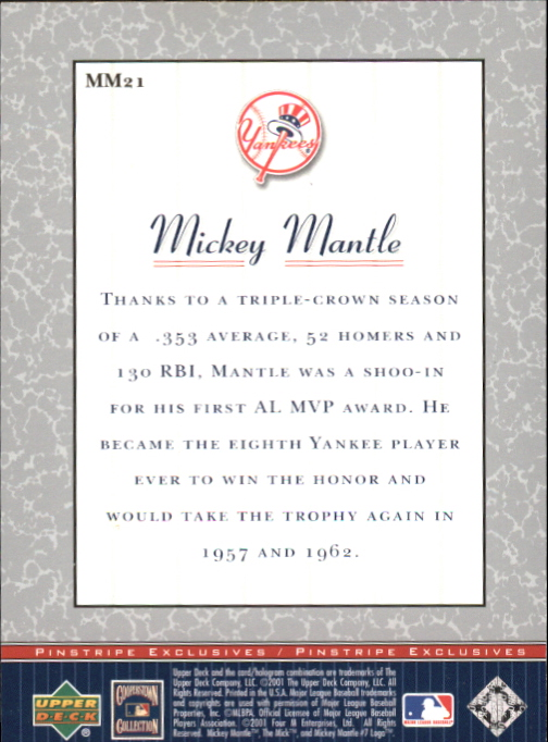 2001 Upper Deck Pinstripe Exclusives Mantle #MM21 Mickey Mantle back image