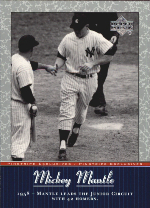 2001 Upper Deck Pinstripe Exclusives Mantle #MM28 Mickey Mantle