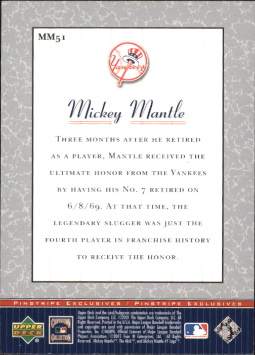 2001 Upper Deck Pinstripe Exclusives Mantle #MM51 Mickey Mantle back image