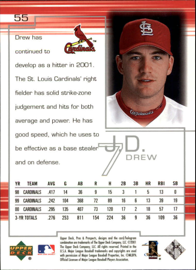 2001 Upper Deck Pros and Prospects #55 J.D. Drew back image