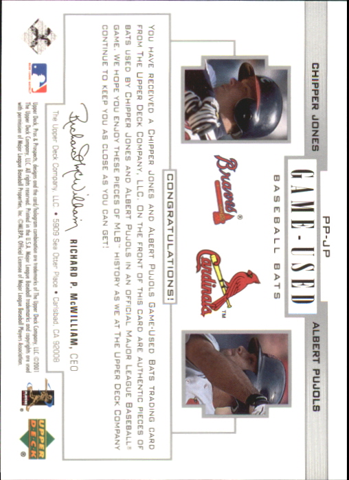 2001 Upper Deck Pros and Prospects Game-Used Dual Bat #PPJP Chipper Jones/Albert Pujols back image
