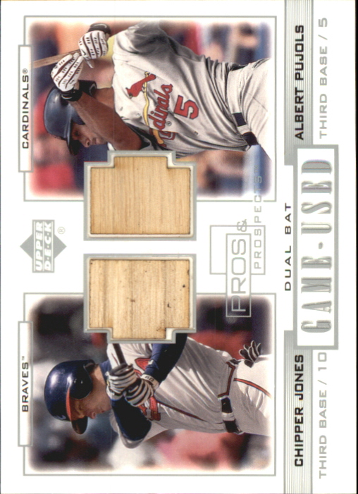 2001 Upper Deck Pros and Prospects Game-Used Dual Bat #PPJP Chipper Jones/Albert Pujols