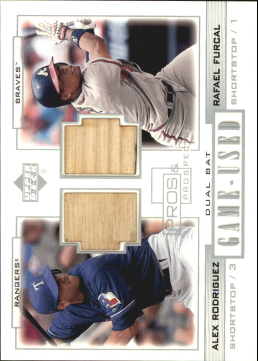 2001 Upper Deck Pros and Prospects Game-Used Dual Bat #PPRF Alex Rodriguez/Rafael Furcal