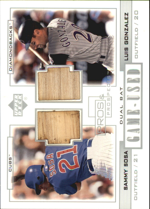 2001 Upper Deck Pros and Prospects Game-Used Dual Bat #PPSG Sammy Sosa/Luis Gonzalez
