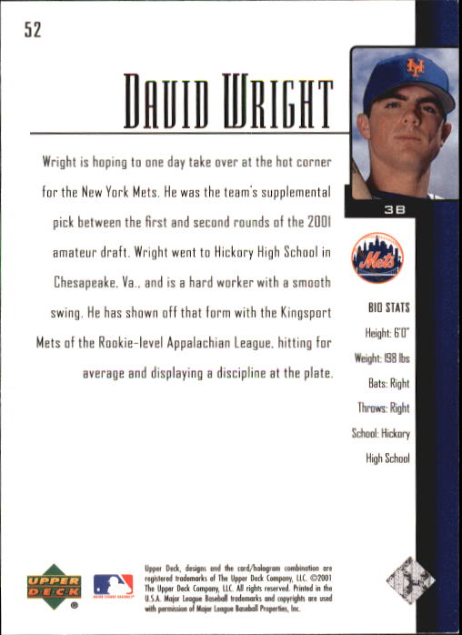 2001 Upper Deck Prospect Premieres #52 David Wright XRC back image