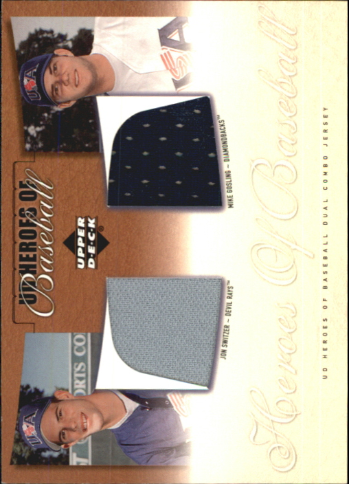 2001 Upper Deck Prospect Premieres Heroes of Baseball Game Jersey Duos #JSG Jon Switzer/Mike Gosling