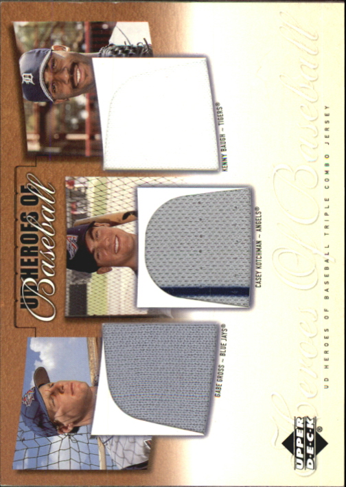 2001 Upper Deck Prospect Premieres Heroes of Baseball Game Jersey Trios #GKB Gabe Gross/Casey Kotchmann/Kenny Baugh
