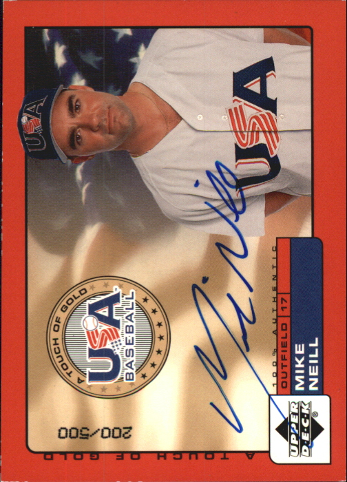 2001 Upper Deck Rookie Update USA Touch of Gold Autographs #MN Mike Neill