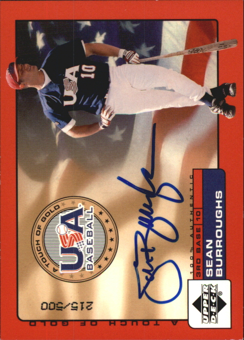 2001 Upper Deck Rookie Update USA Touch of Gold Autographs #SB Sean Burroughs
