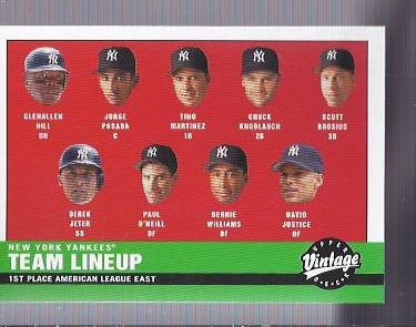 2001 Upper Deck Vintage #161 New York Yankees CL