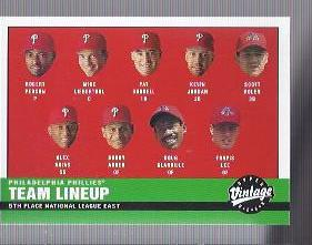 2001 Upper Deck Vintage #308 Philadelphia Phillies CL