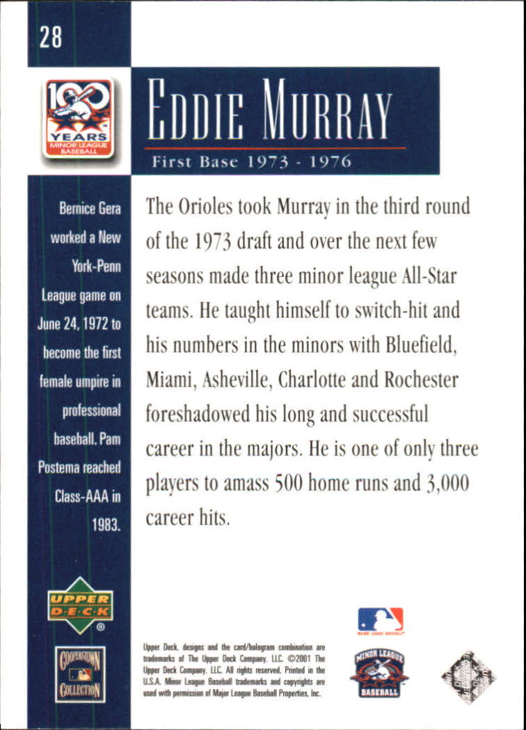 2001 Upper Deck Minors Centennial #28 Eddie Murray back image