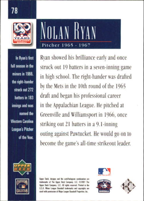 2001 Upper Deck Minors Centennial #78 Nolan Ryan back image