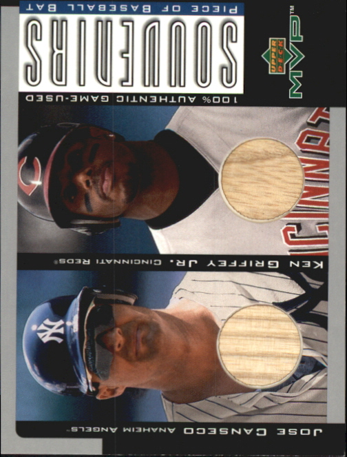 2001 Upper Deck MVP Game Souvenirs Bat Duos #BHR Jose Canseco/Ken Griffey Jr.