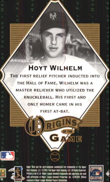 2001 Upper Deck Hall of Famers #53 Hoyt Wilhelm OG back image