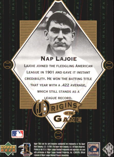 2001 Upper Deck Hall of Famers #60 Nap Lajoie OG back image