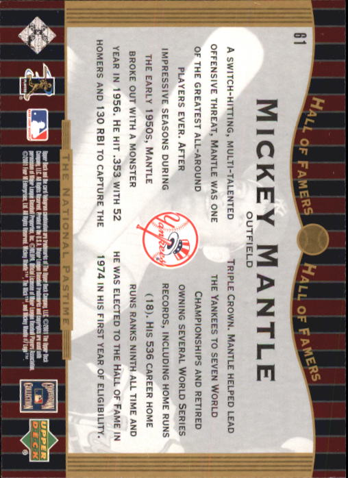 2001 Upper Deck Hall of Famers #61 Mickey Mantle NP back image