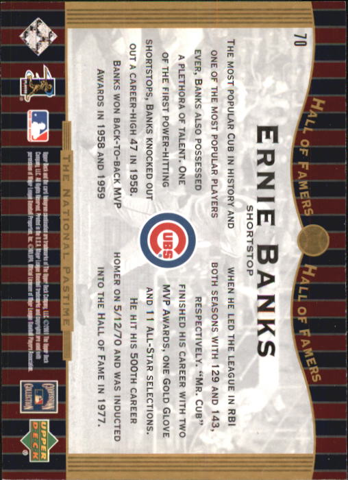 2001 Upper Deck Hall of Famers #70 Ernie Banks NP back image