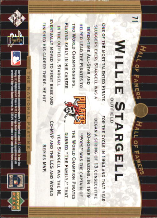 2001 Upper Deck Hall of Famers #71 Willie Stargell NP back image
