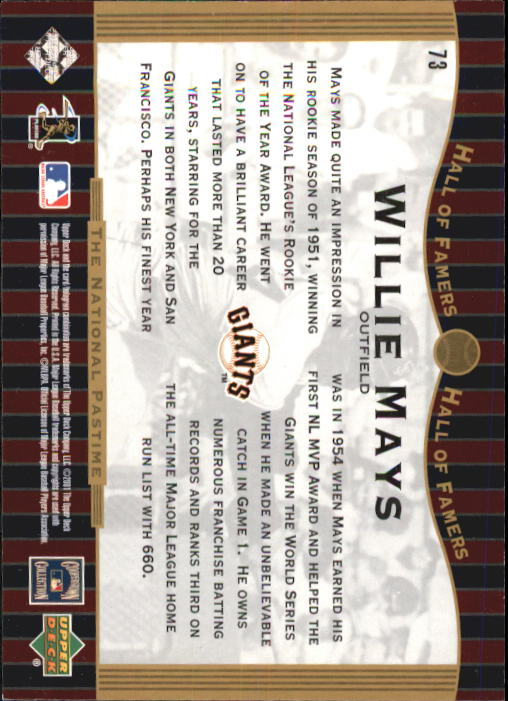 2001 Upper Deck Hall of Famers #73 Willie Mays NP back image