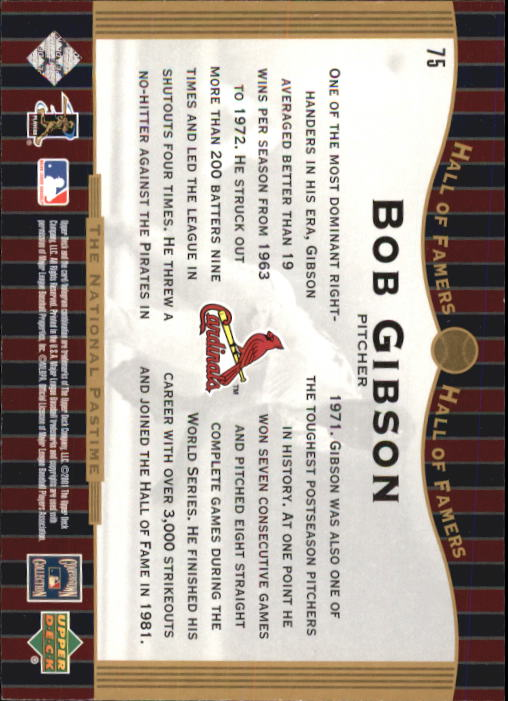 2001 Upper Deck Hall of Famers #75 Bob Gibson NP back image