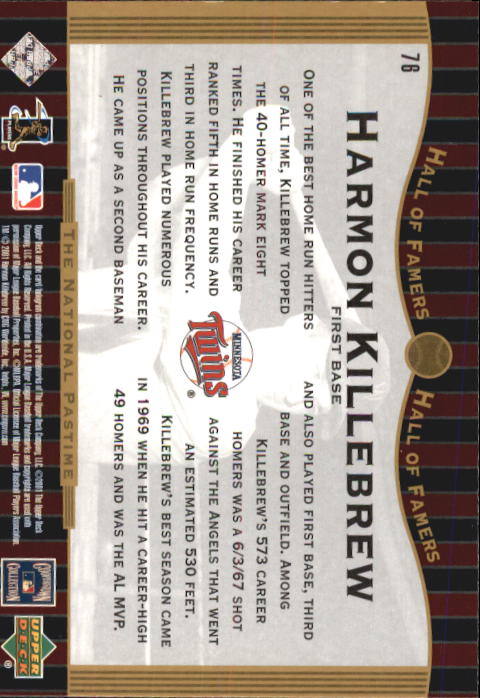 2001 Upper Deck Hall of Famers #76 Harmon Killebrew NP back image