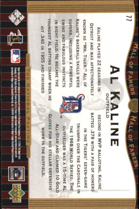 2001 Upper Deck Hall of Famers #77 Al Kaline NP back image