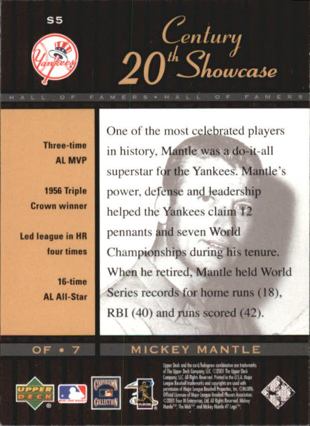 2001 Upper Deck Hall of Famers 20th Century Showcase #S5 Mickey Mantle back image